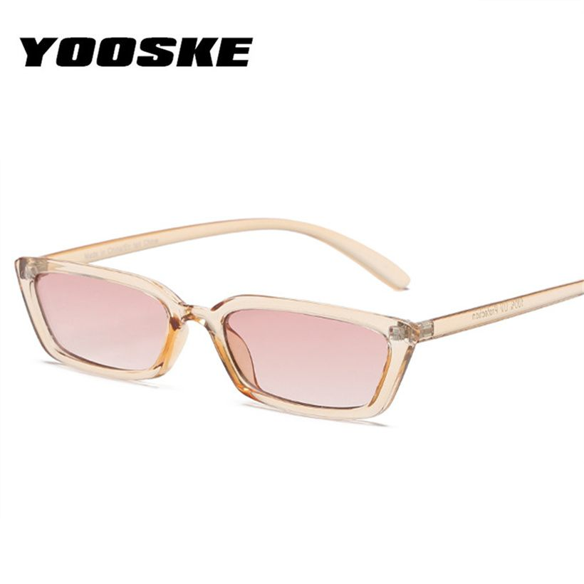 2b0303d8c85 YOOSKE Fashion Flat Top Cat Eye Sunglasses Women Vintage Narrow Frames Sun  Glasses Luxury Brand Designer Rectangle 90s Glasses