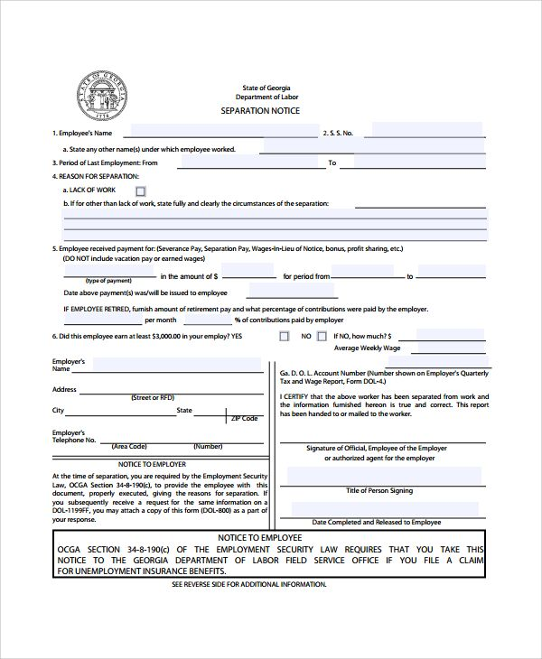 sample separation notice template free documents download pdf - employment separation letter