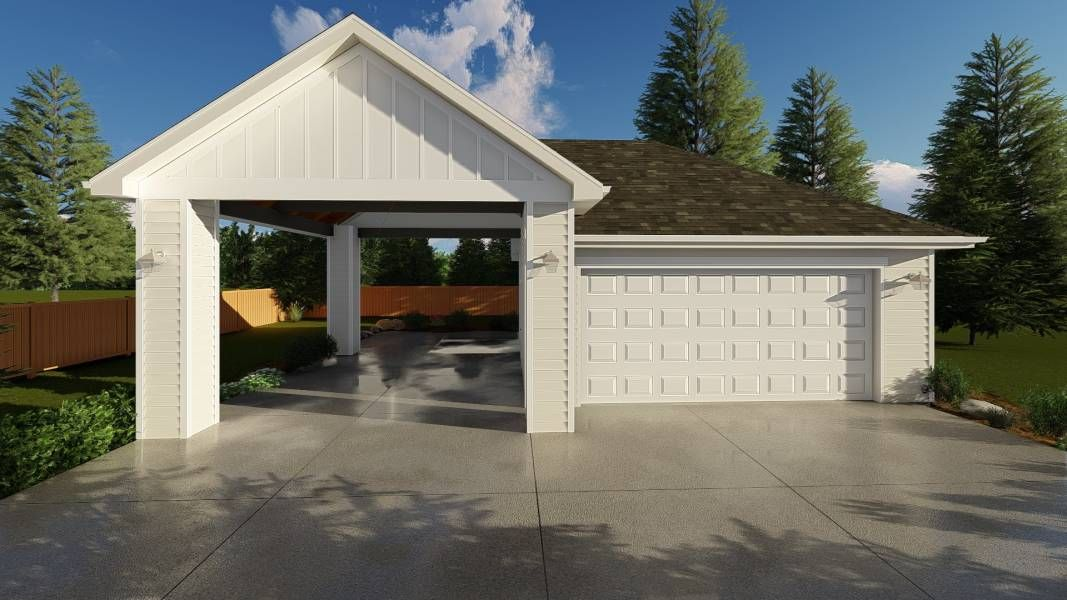 Kush is a 2 car garage plan with an oversized carport