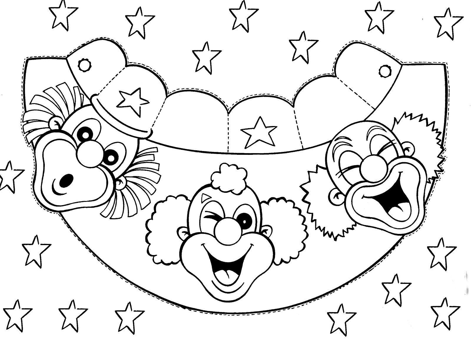 Circo-Atividades-Palhacos-viseira-Colorir-Imprimir.jpg (1600×1157 ...