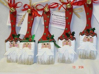 Paintbrush santas Projects to Try Pinterest Craft, Xmas and
