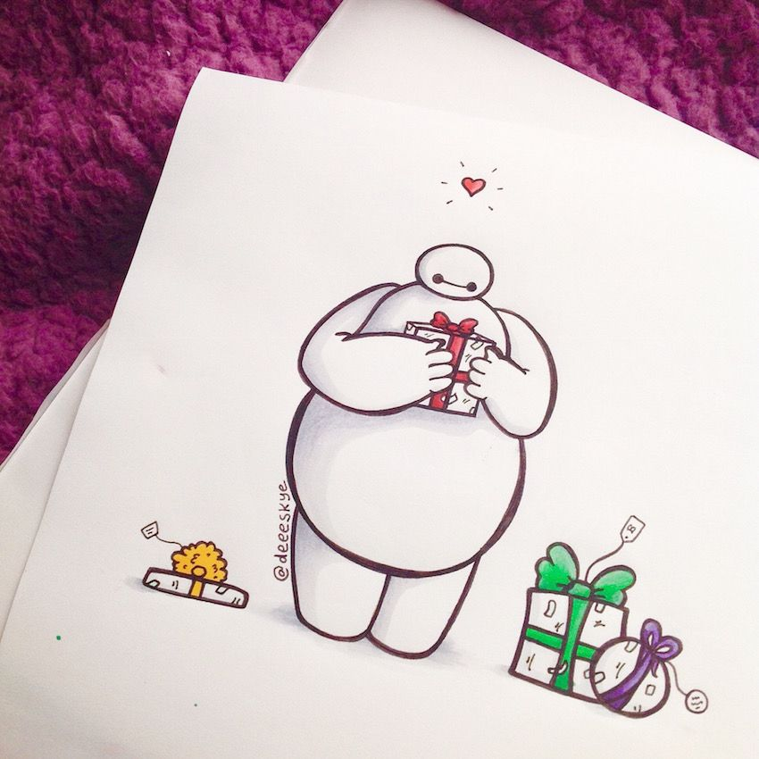 how to draw chibi disney baymax characters