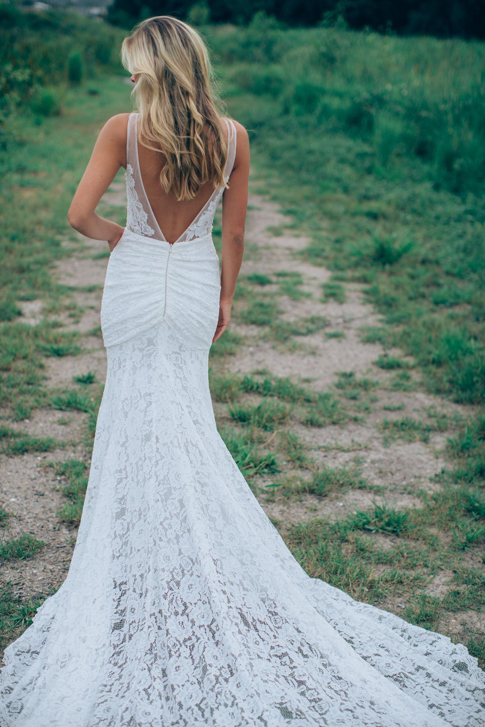 Low back lace wedding dress #Frankie http://www.madewithlovebridal ...