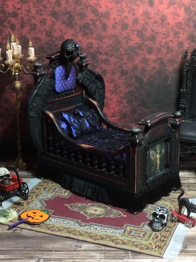 Miniature Furniture, Doll Furniture, Doll House Miniature, OOAK Miniature, The Raven Childs Bed #victoriandolls image 5 #indianbeddoll