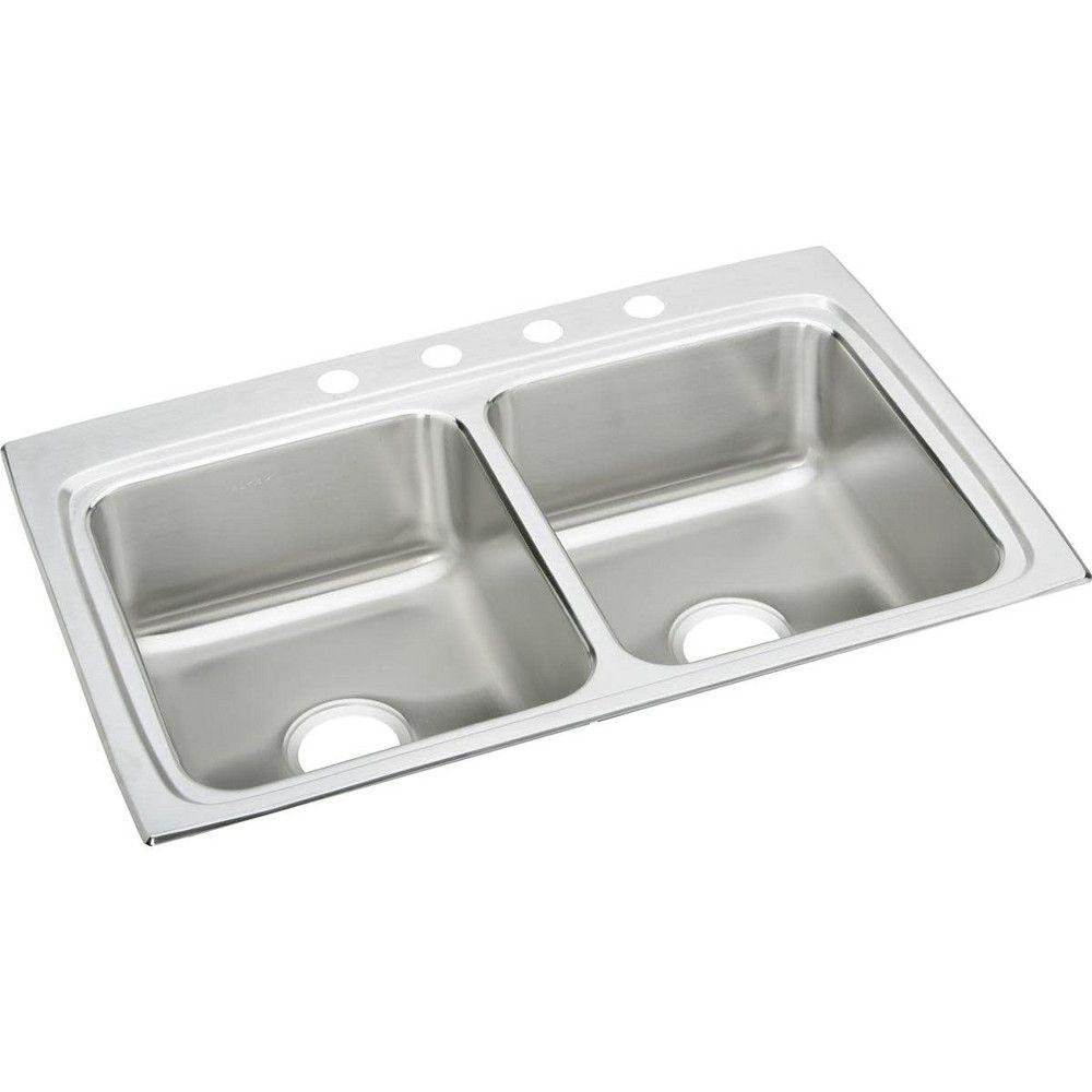 Elkay Lr3322 Lustertone 33 Double Basin Drop In Stainless Steel