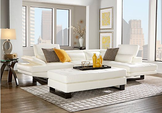 Shiloh White 4 Pc Sectional Living Room Living Room Leather Living Room Sets Furniture Rooms To Go Furniture