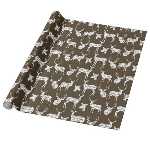 White Rustic Deer on Brown Wrapping Paper