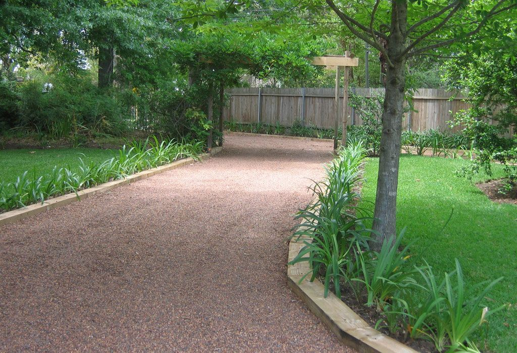 Wood edged driveway house gravel drive edge pinterest for Gravel path edging ideas