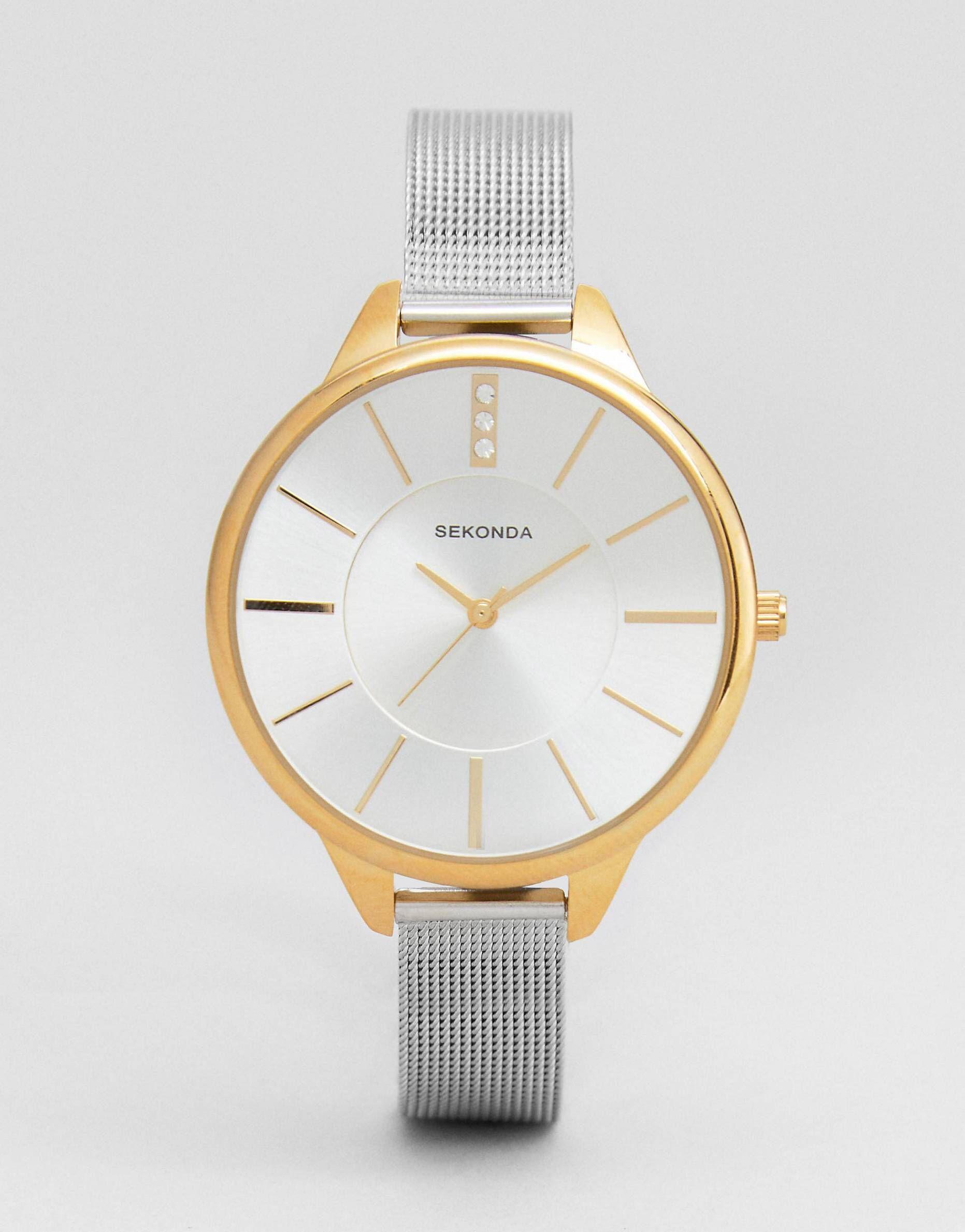 0e1af2d19f2c Reloj de malla en plateado dorado exclusivo en ASOS de Sekonda