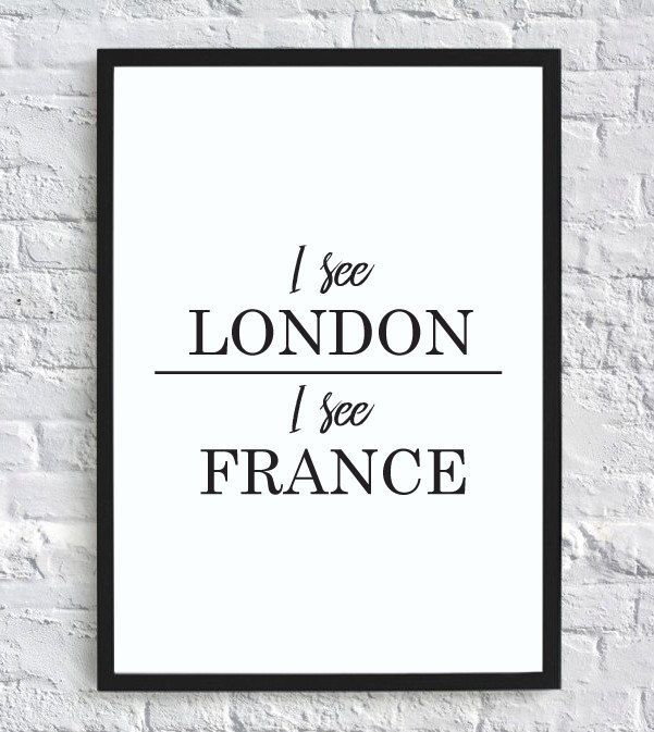 Photo of I see London, I see France – funny bathroom wall decor print (digital download)