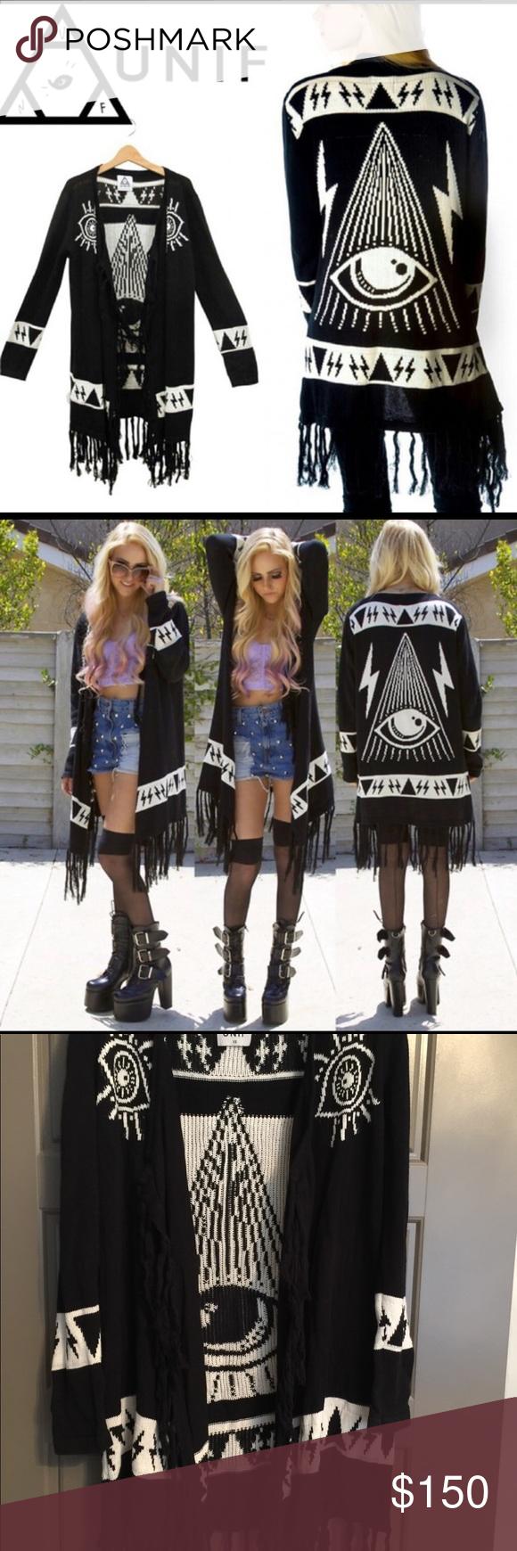 Unif Eye Psychic Witch Cardigan sweater hippie   Sweater
