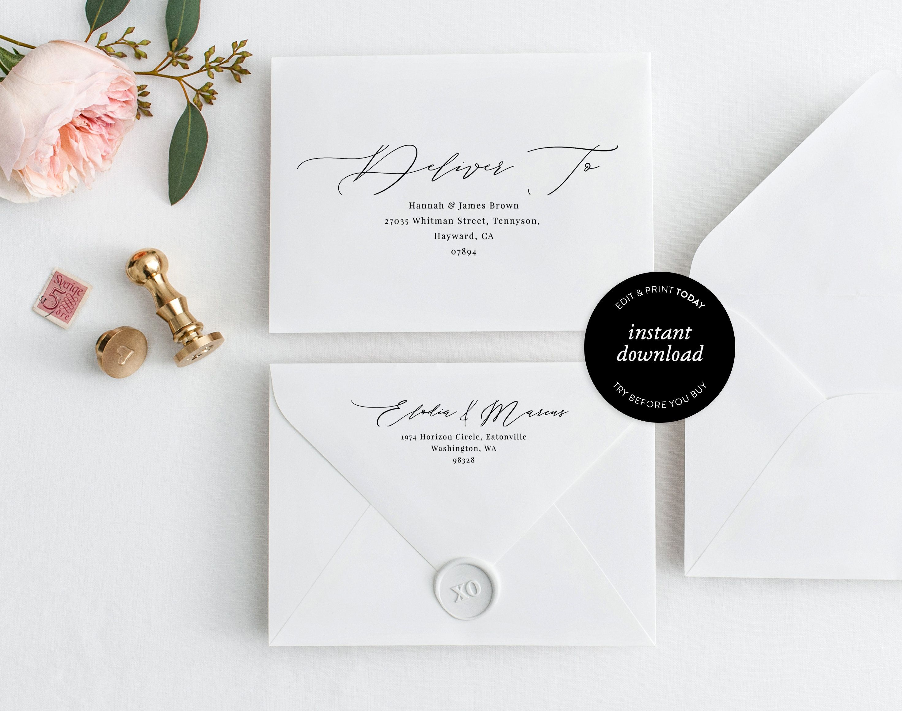 Printable Wedding Envelope Template Envelope Calligraphy A7 And A1 Editable Envelope Self Editing Template Templett Envelope Printable Wedding Envelopes Wedding Envelopes Wedding Printables