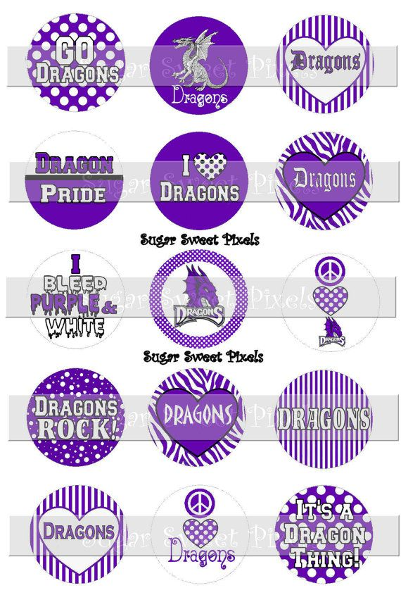 INSTANT DOWNLOAD Dragons Purple White School Mascot 1 inch circle Bottlecap…