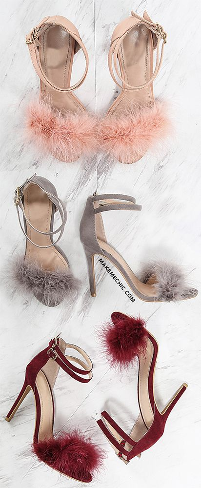 f222109a7af Feather Dual Strap Heels PINK | MakeMeChic.COM | Make Me Party Chic ...