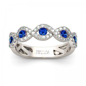 18K White Gold Plated Blue Sapphire Wedding Band For Women