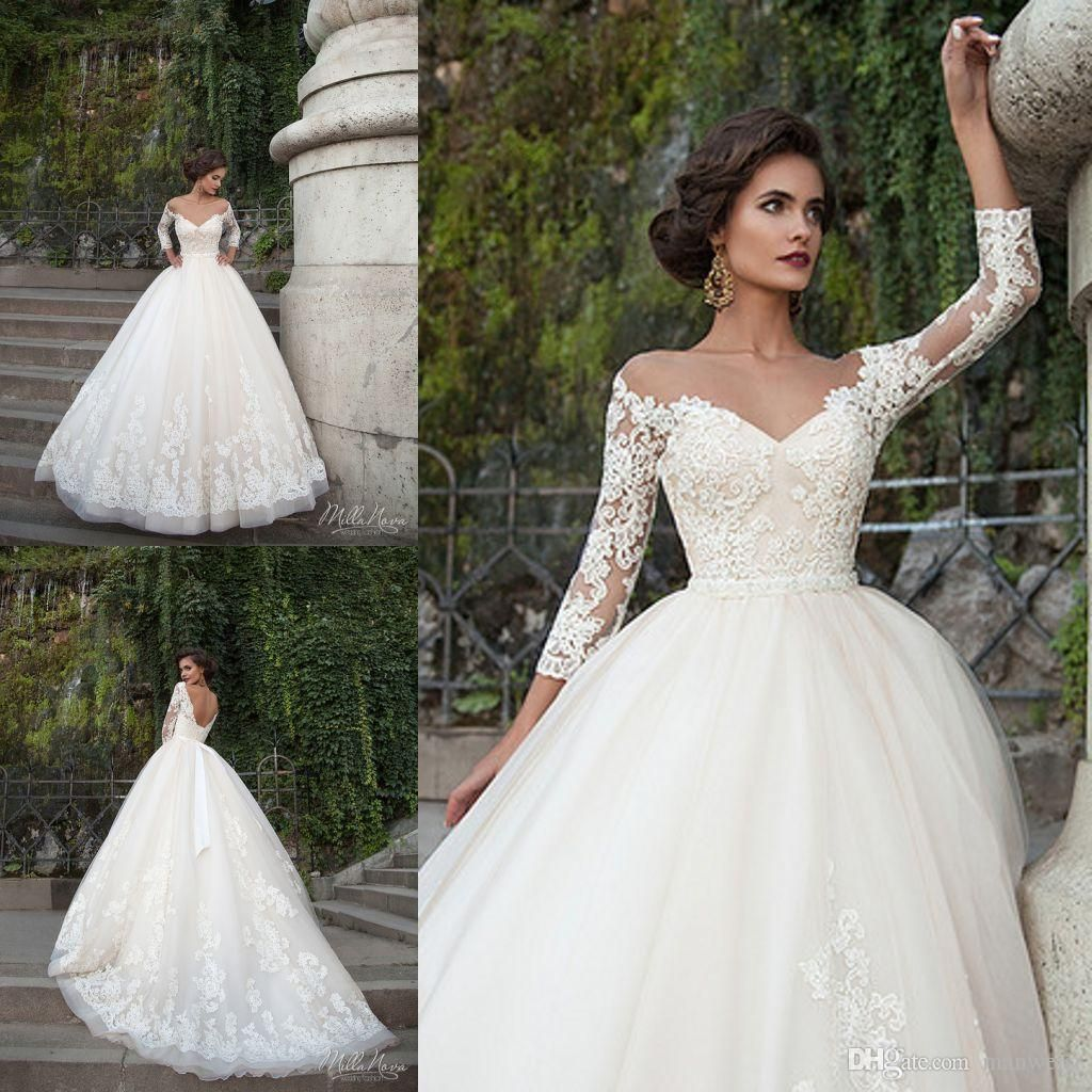 2018 Milla Nova Wedding Dresses Sheer Neck Long Sleeve Beads ...