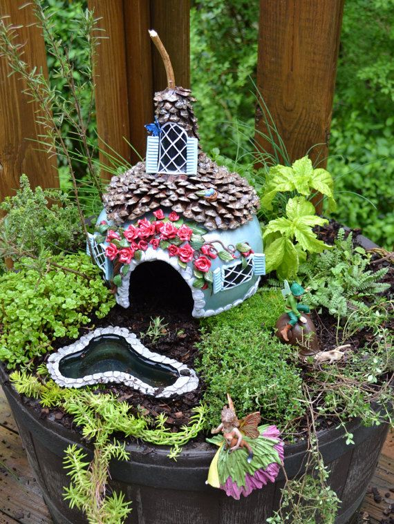 Fairy garden house toad house made with gourd polymer clay and gourd fairy houses fairy garden house toad house gourd by smokymountainfollies publicscrutiny Gallery