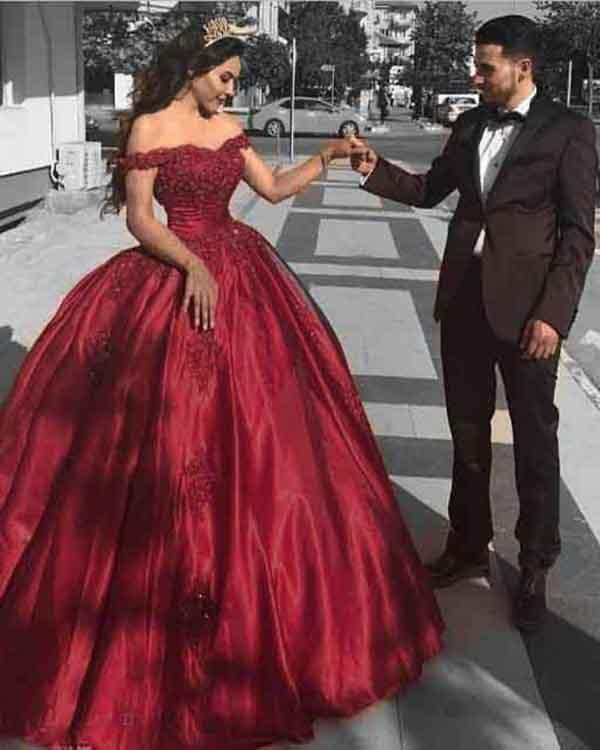 64a6c3f4f92 2018 Quinceanera Dresses Burgundy Lace Satin Ball Gown Quince Off The  Shoulder Sweet 16 Dress