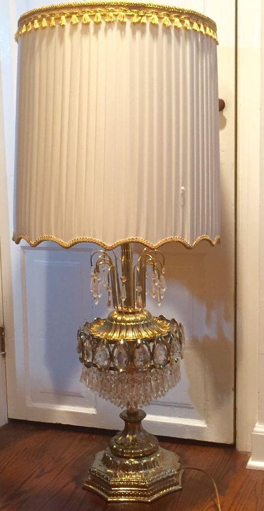 Antique Vintage Hollywood Regency Crystal Chandelier Table Lamp Lamp Crystal Table Lamps Table Lamp