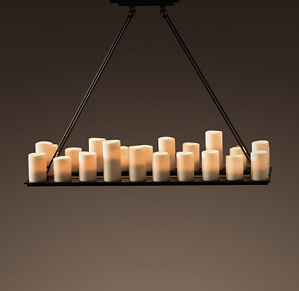 Pillar candle rectangular chandelier medium 1295 natural looking pillar candle rectangular chandelier medium 1295 natural looking faux candles in different shapes and sizes create a welcoming ambience mozeypictures Choice Image