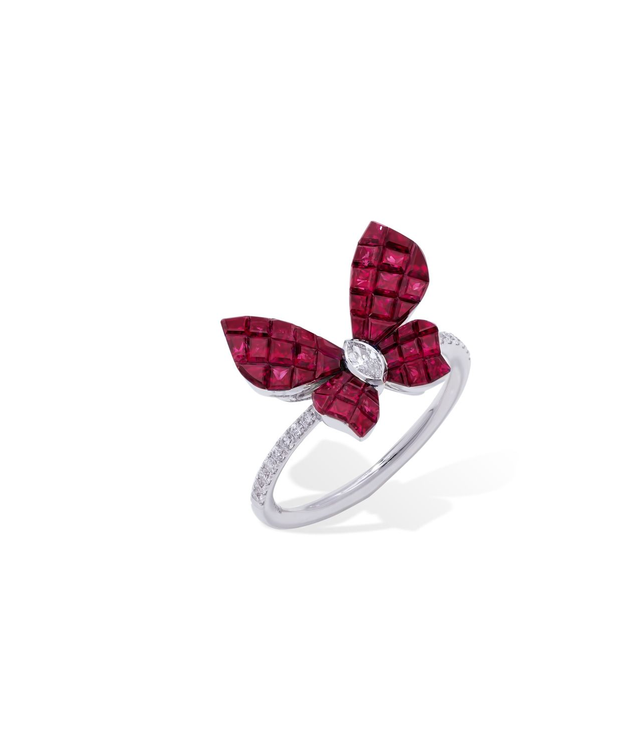 Mademoiselle B. by Stenzhorn. Petit ring in Mosaic setting rubies and white diamonds