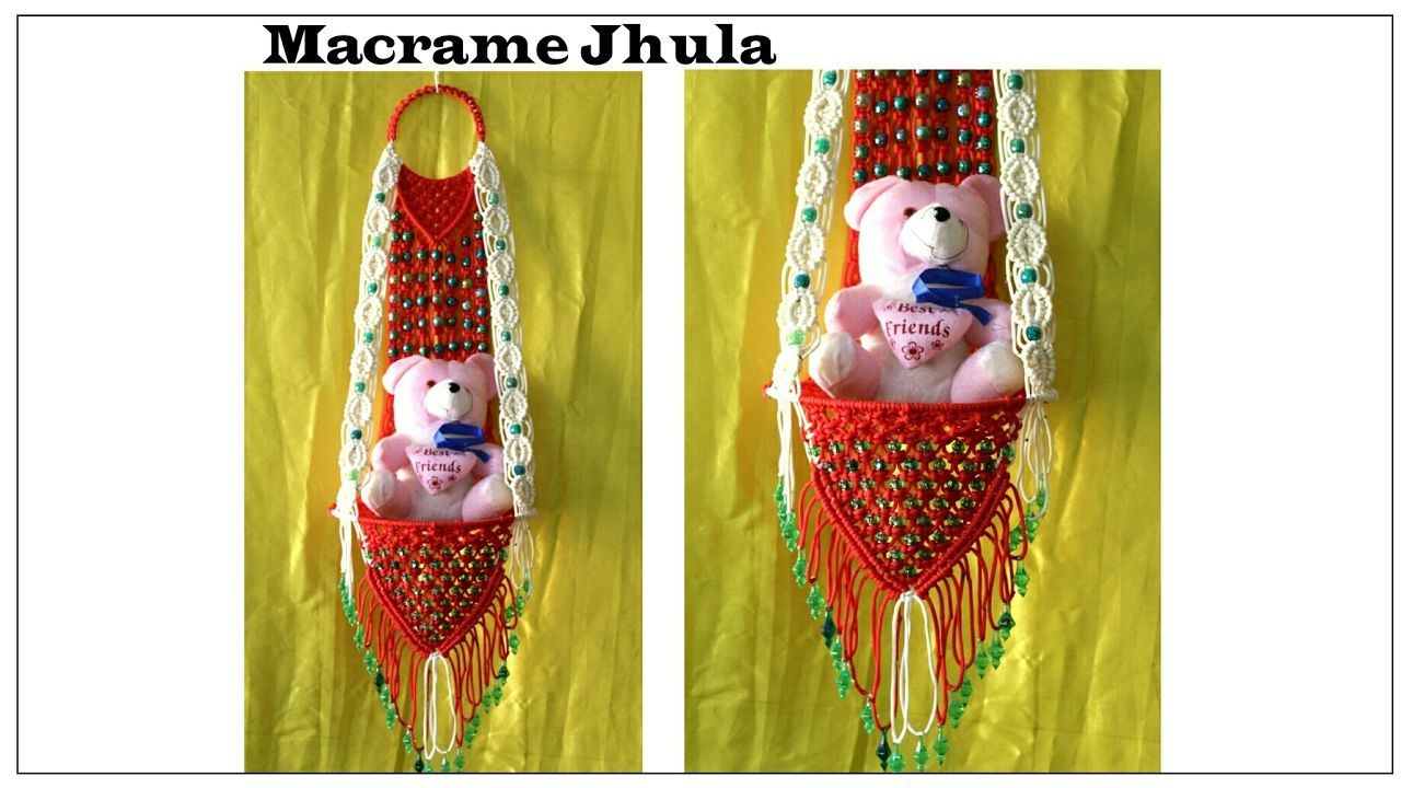 Full making of Macrame jhula| Red & White| New design| #2 ...