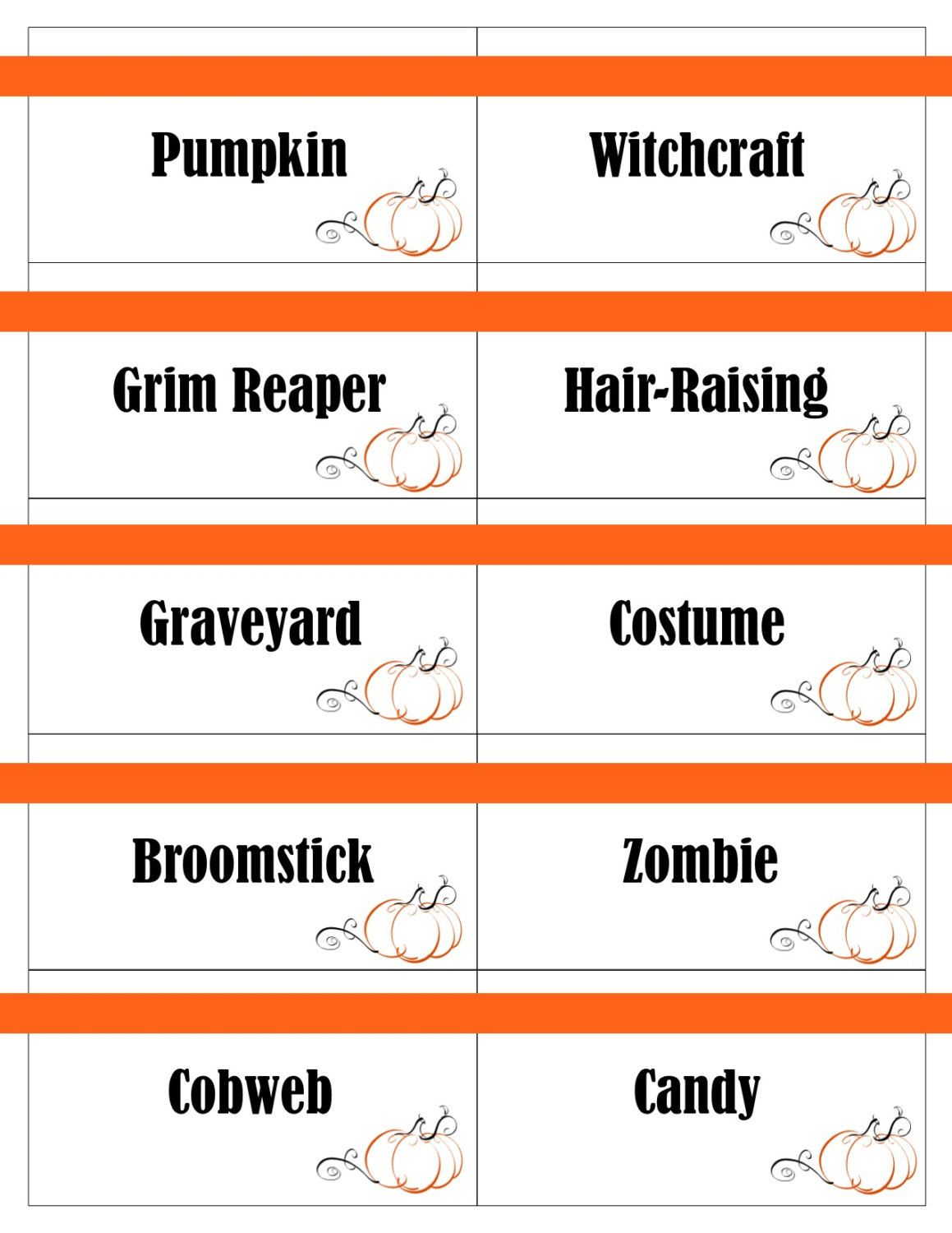 printable halloween game cards for pictionary, charades, hangman and