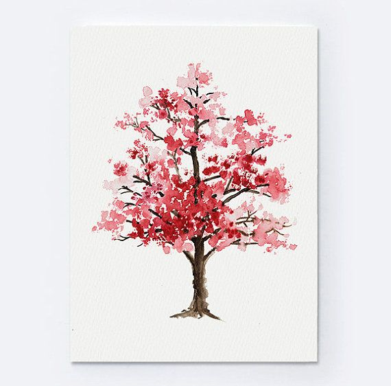 Cherry Blossom Tree Watercolor Painting Floral Giclee Wall Art