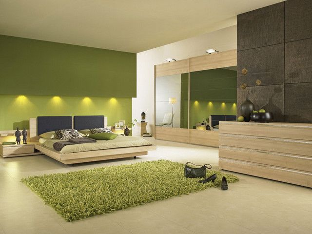 Image Detail For Contemporary Green Bedroom With Modern Lighting Green Bedroom Design Bedroom Interior Bedroom Green