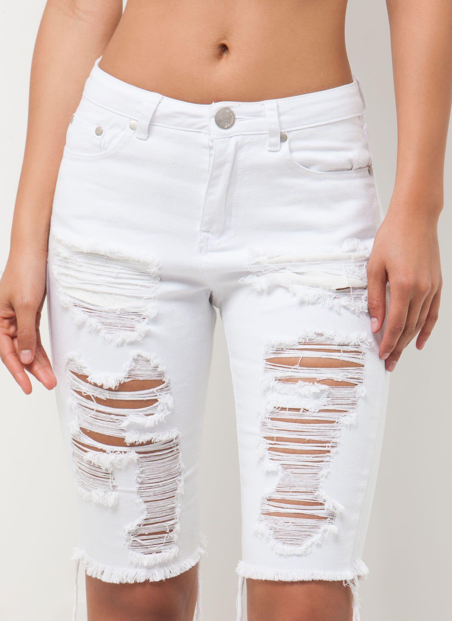 Unwind Distressed Denim Bermuda Shorts WHITE | Fun summer outfits ...