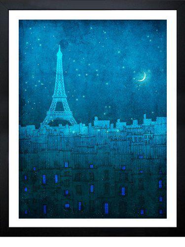 CrudeArea 'The Eiffel tower in Paris' Poster by Brigitta (Frame, 58.42 cm x 73.66 cm)