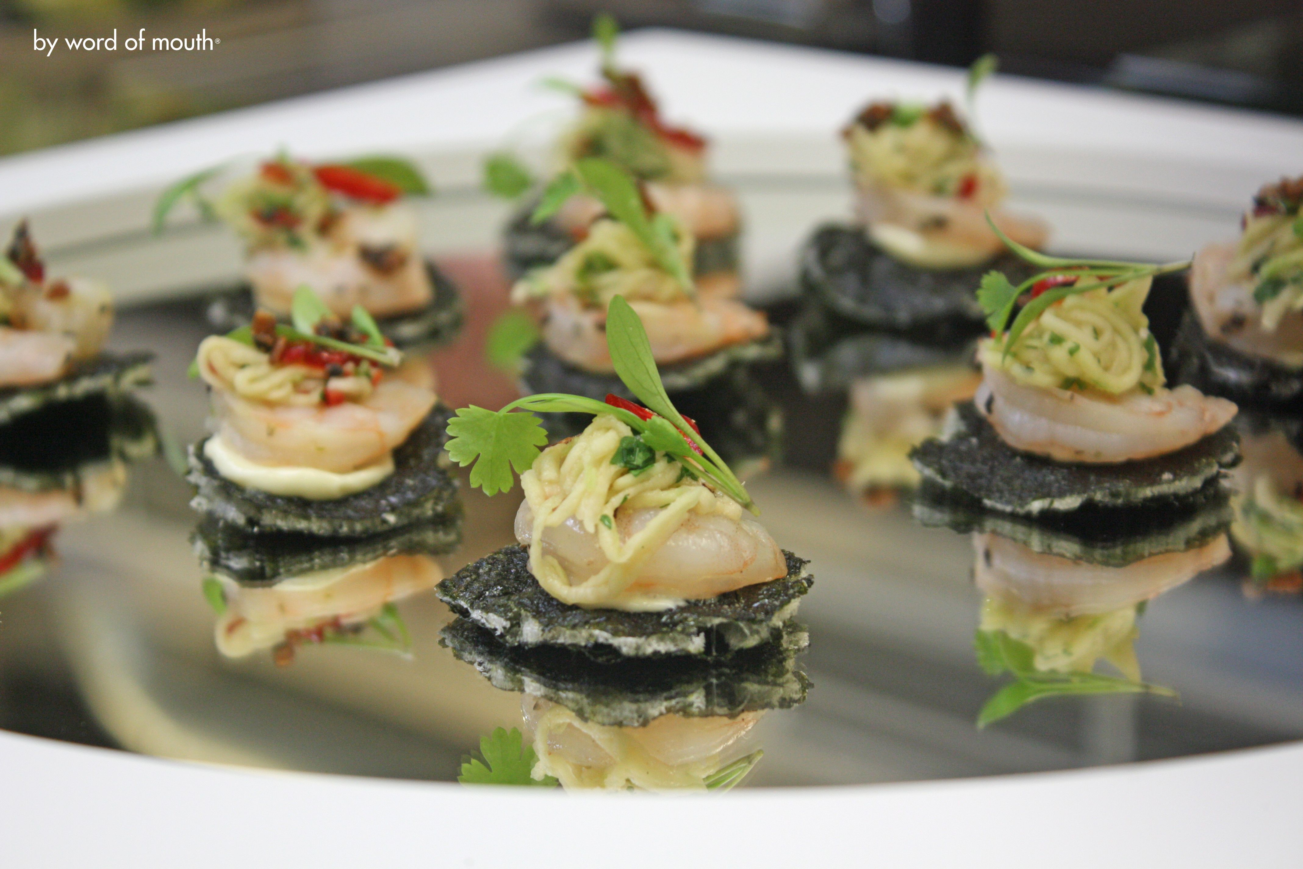 Canape 2016 Cold Canape Sesame Crusted Prawns On A Seaweed And Rice Paper