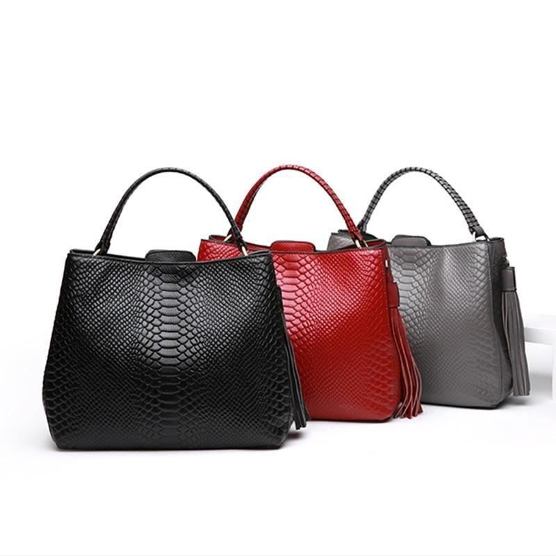 6221f985d Women's Genuine Leather Serpent Grain Designer Handbag | Bolsos ...