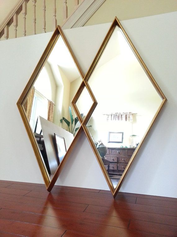 Diamond Mirror Large Mid Century Gold Gilt Double Diamond