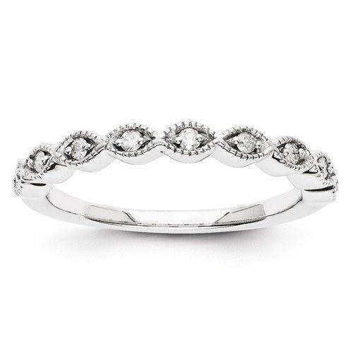 14k White Gold Marquise Style Diamond Wedding Anniversary Ring