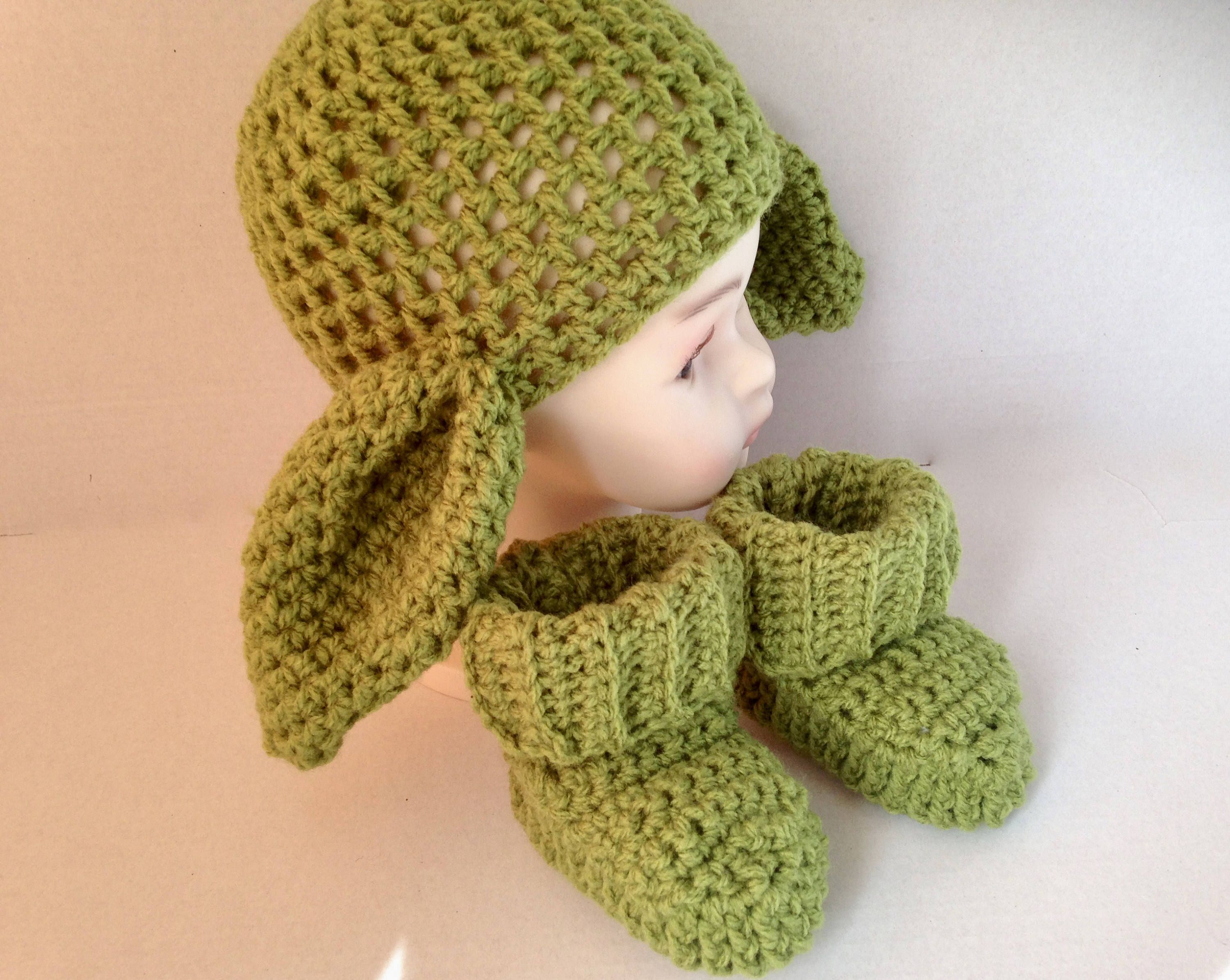 united states discount shop where to buy Crochet big ears, Yoda hat and booties, hat and boot set ...