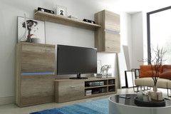 Living Room Furniture Set Display Wall Unit Modern TV Cabinet LEDs Incl