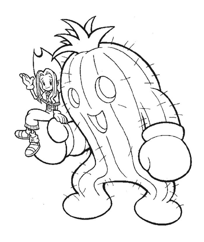 Togemon And Mimi Coloring Page | Digimon Coloring Page ...