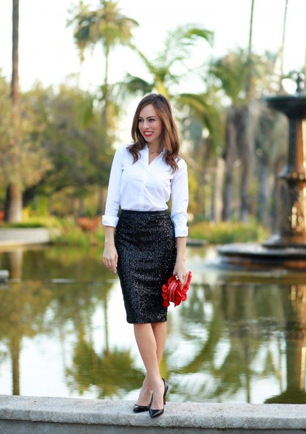 5d2cb91a79 Love this white Oxford blouse, sequin skirt, & red floral clutch! Sexy &  sharp!