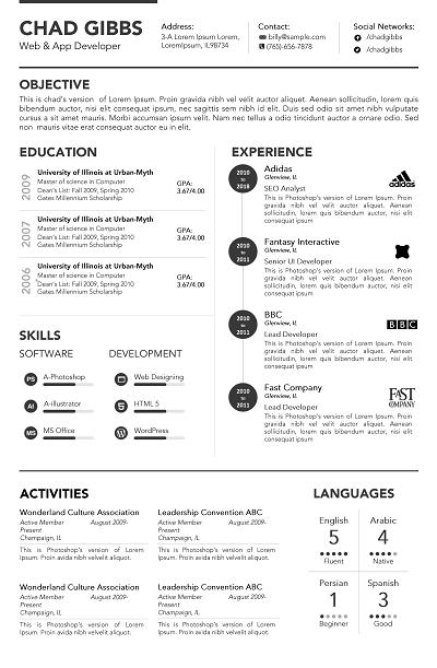 Vona Chronological resume, Chronological resume template