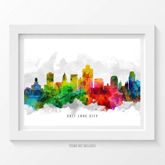 Salt Lake City Utah Homes: Salt Lake City Utah Skyline Poster, Salt Lake City Art
