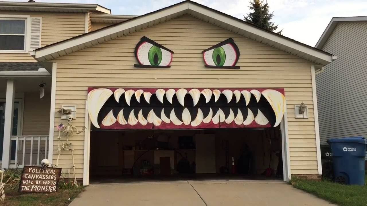 Cleveland Woman Transforms Her Garage Door Into a Monster