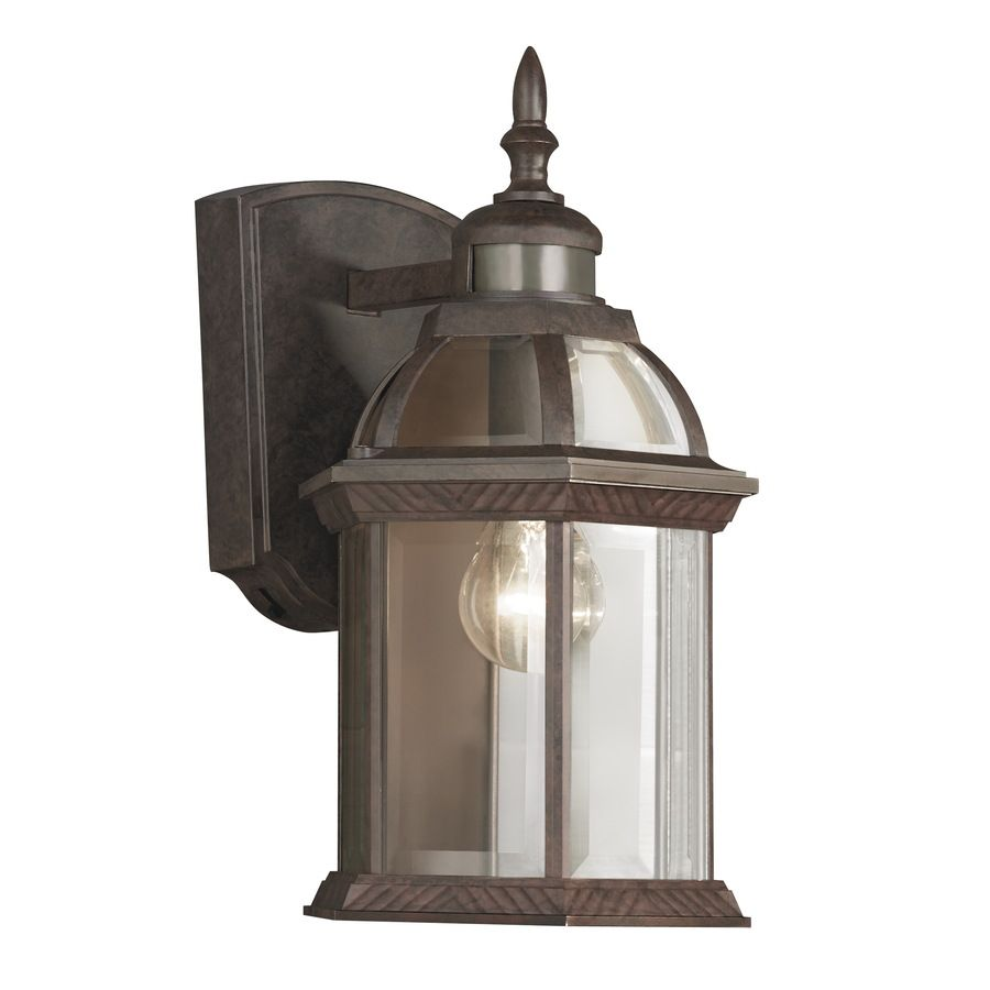 Shop Portfolio 14 5 In H Bronze Motion Activated Outdoor Wall Light At Lowes Com Outdoor Light Fixtures Wall Lights Outdoor Wall Mounted Lighting