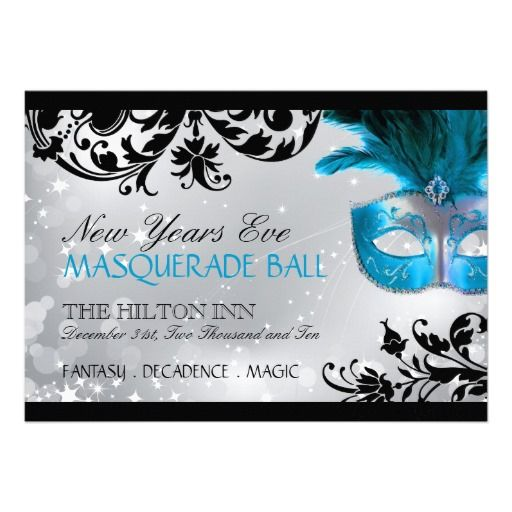 Elegant Teal Blue Masquerade Party Invitation Template Sweet 16