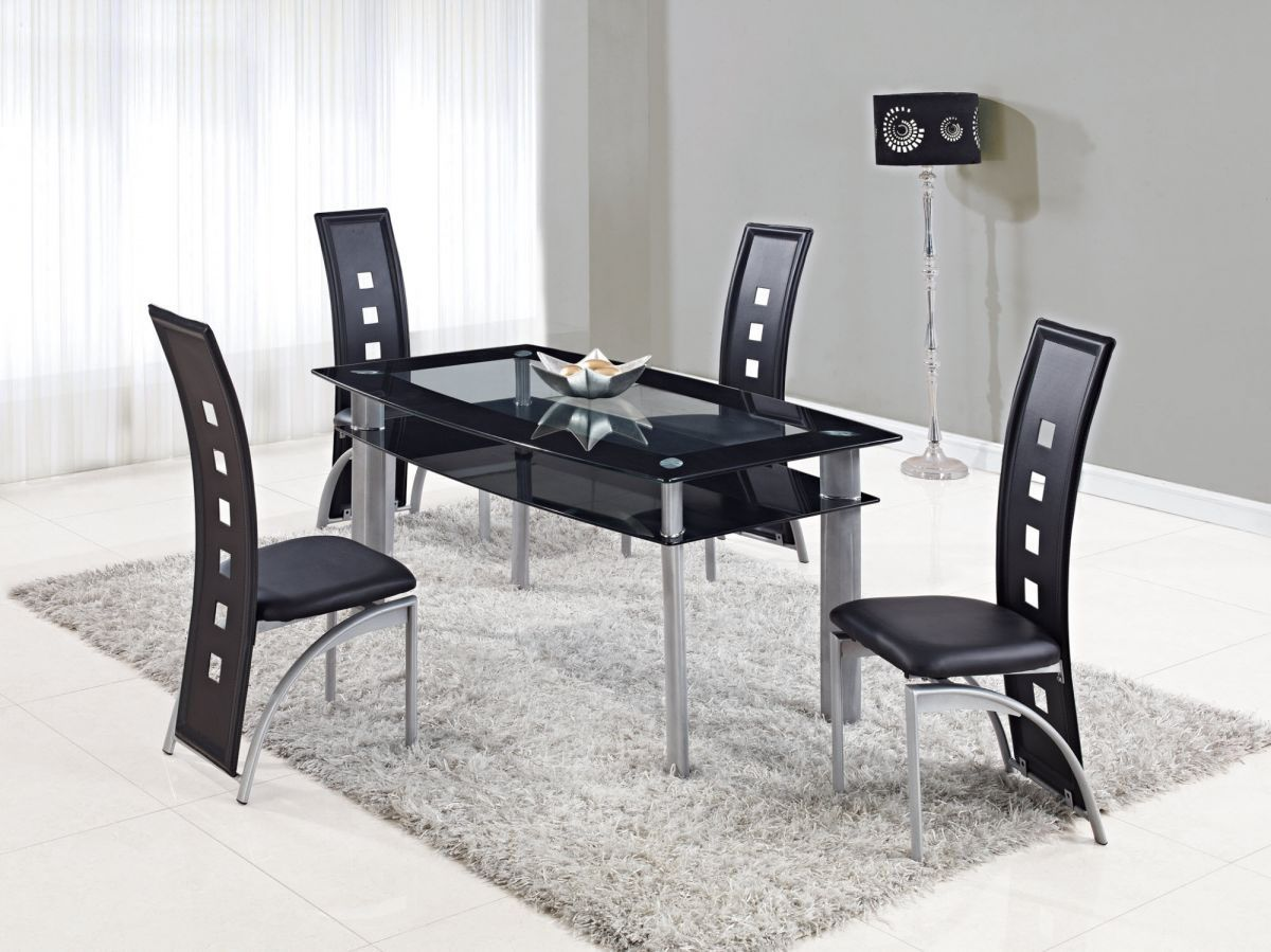 Extendable Rectangular Frosted Glass Top Leather Modern Dining Set