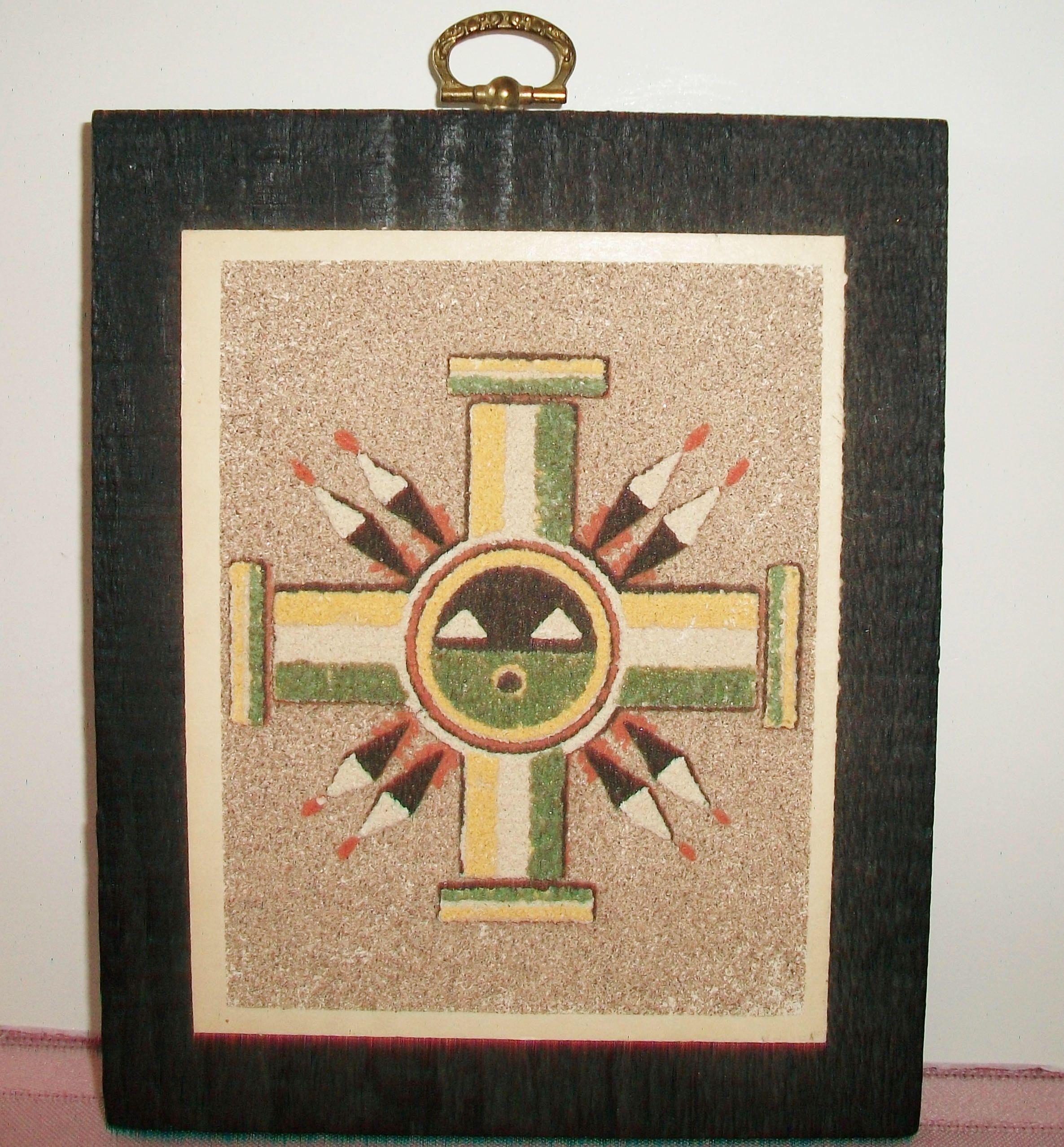 Native american sun symbol sand art wall decor vintage