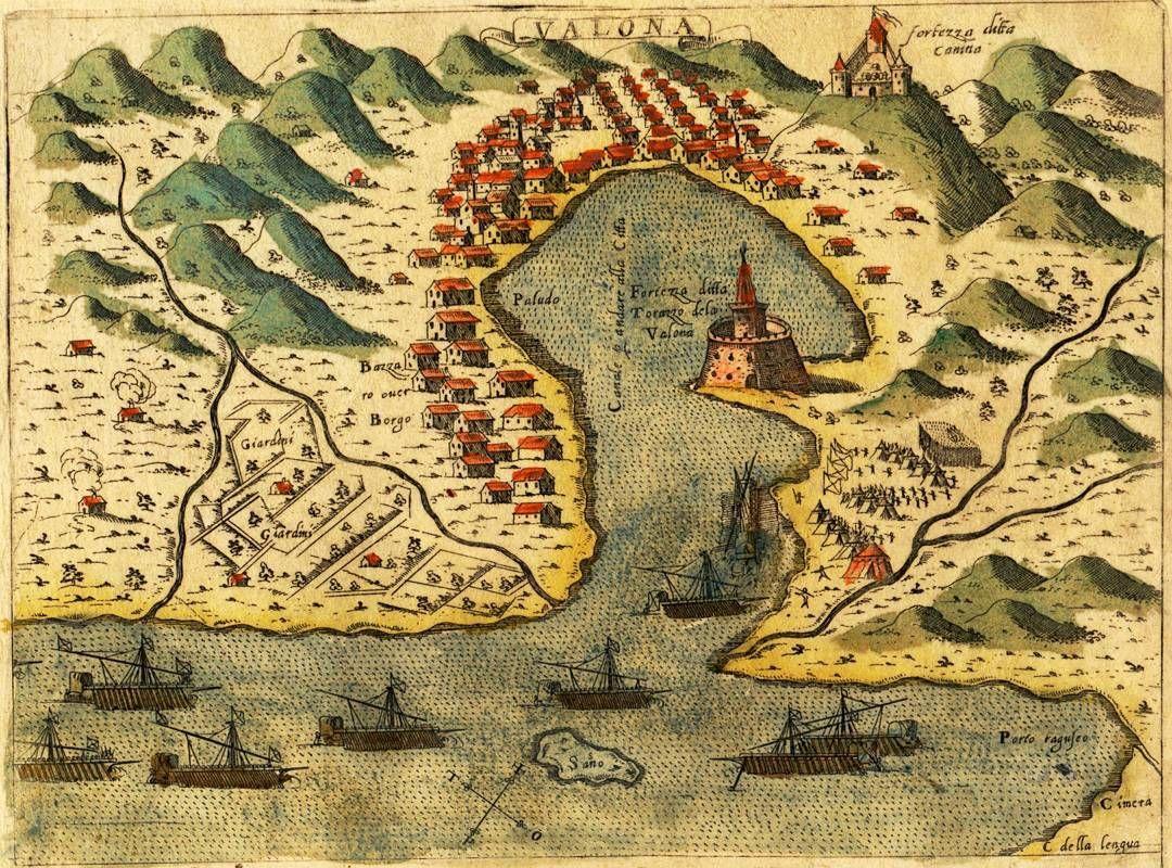 Harte e Vlores #Valona (today #Vlora) in #1573 by Simon Pinargenti.