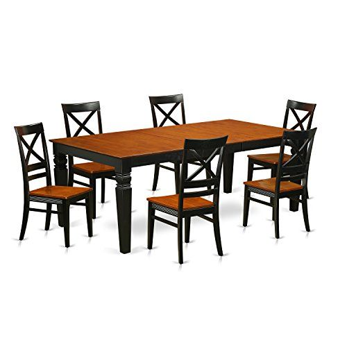 East West Furniture LGQU7BCHW 7 Piece Kitchen Table Set with One ...
