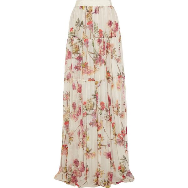 Giambattista Valli Printed silk-chiffon maxi skirt (12,220 MXN) ❤ liked on Polyvore featuring skirts, hameet, maxi skirts, saias, bottoms, cream, maxi skirt, pink pleated maxi skirt, long skirts and long floral skirts