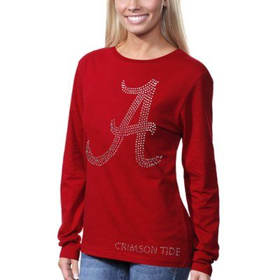 Alabama Crimson Tide Ladies Bling Rhinestone Logo Long Sleeve T-Shirt - Crimson  Bling   BAMA! Size L  a03a7cf59634